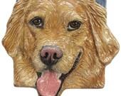 Golden CERAMIC Portrait Sculpture 3D Dog Art Tile Plaque FUNCTIONAL ART by Sondra Alexander