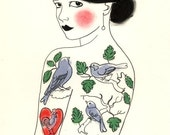 The Girl Who Loved Birds - print of original charcoal and pastel drawing