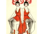 Fashion illustration Art Deco Art - Backstage at The Follies - 4 X 6 print - 4 for 3 SALE