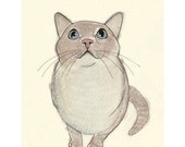 Cat art SALE GIFT SET - 3 X  Pussy Cats  - 5.8 X 8.3 prints