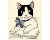 "Nursery art Cat art Kitten art drawing (print) - The Literary Kitten - 4"" X 6"" print - 4 for 3 SALE"