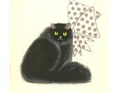 Black Cat Wall Art - Persian cat art - Persian Art - 4 for 3 SALE Sophisticat - drawing (4 X 6 print) - 4 for 3 SALE