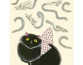 Black persian cat art -  Peggy at the Air Show - 4 X 6 cat print - 4 for 3 SALE