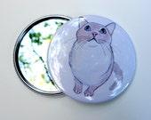 Pocket Mirror Cat Art - I heart birds