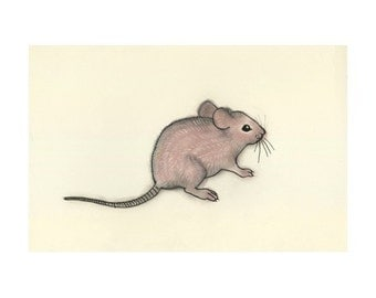 Mouse art -  Little Mousey - 6 X 4 print - 4 for 3 SALE