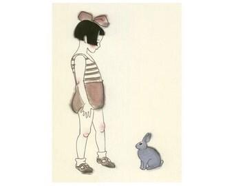 "Nursery art - Rabbit art print -  The blue rabbit  -  8.3"" X 11.7"" - 4 for 3 SALE"