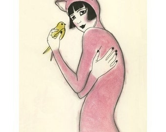 "Fashion art print -  - The Pink Pussy Cat -  8.3"" X 11.8"" - 4 for 3 SALE"