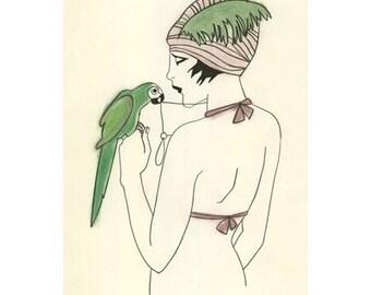 Fashion illustration - Queen Nefertiti - 4 x 6 Print - 4 for 3 SALE