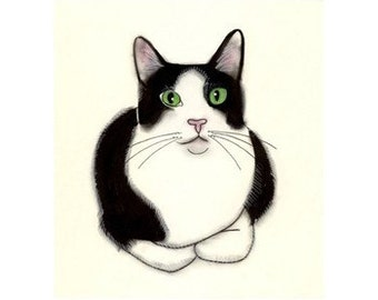 Tuxedo Cat Art - Green Eyes -   black and white cat print - 4 for 3 SALE