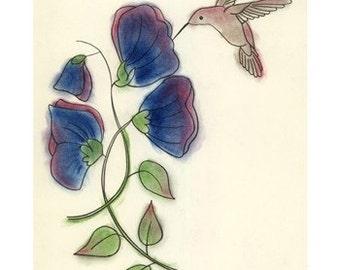 "Bird decor print. Hummingbird Bird art  -  Good Morning - 4"" X 6"" print - 4 for 3 SALE"