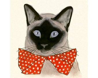 Siamese Cat Art  - Red Bow Tie 4 for 3 SALE - 5.8 X 8.3 print