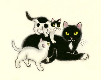 Cat Art - Happy Family - 6 X 4 PRINT