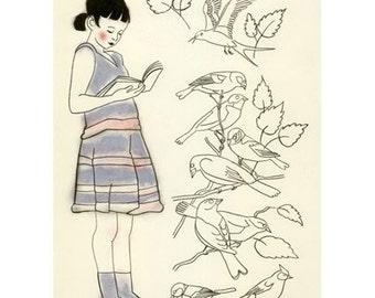 """Nursery wall art. Children's art.  Diana the reader of bird books -  4"""" X 6"""" print - 4 for 3 SALE"""