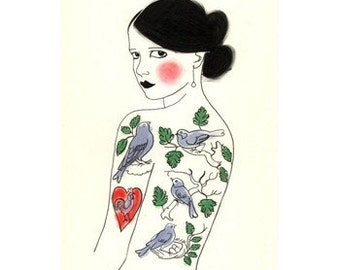 "Illustration Art print Tattooed lady. ACEO/ ACT - The Girl Who Loved Birds - 2.5"" x 3.5"" print - 4 for 3 SALE"