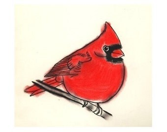 "Bird Art print -  Little Cardinal - (4"" X 6"" print) - 4 for 3 SALE"