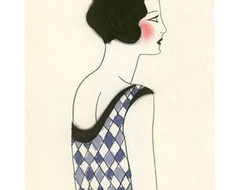 "Art Deco print - 1920s Art Deco Chloe - (8.3""  X 11.7"" print) - 4 for 3 SALE"