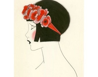 "1920s Art Deco art print -  Poppy IV - 8.3"" X 11.7""  - 4 for 3 SALE"