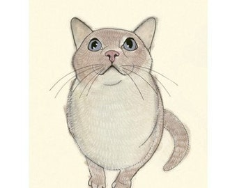"Cat Art print. I heart birds -  - 8.3"" X 11.8"" - 4 for 3 SALE"