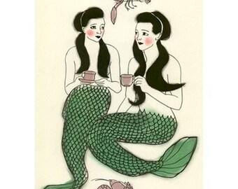 Nursery art. Mermaid art -  Crustacean cafe -  5.8 X 8.3 print