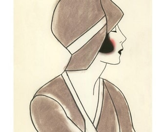 1920 Art Deco girl art -  Poppy III - 4 X 6 print - 4 for 3 Sale