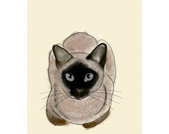 "Seal point siamese cat art - Blue Eyes -    8.3"" X 11.7""  cat print - 4 for 3 SALE"