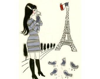 Fashion illustration Veronica in Paris  -  4 X 6 print - 4 for 3 SALE
