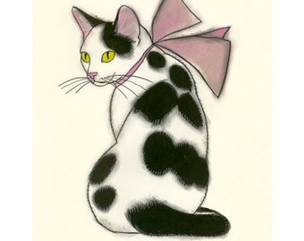 "Cat print  Cat Drawing.Pretty in pink - 4"" X 6"" cat print - 4 for 3 SALE"