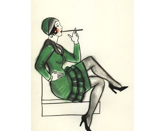 "Art Deco art print -  1920s Jazz Baby  (4"" X 6"") 4 for 3 Sale"