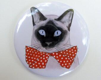 """Purse Mirror - Lipstick Mirror - Hand Mirror - Pocket Mirror Siamese cat art - Red Bow Tie 3"""" mirror"""