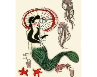 "Children's wall art. Mermaid art -   Mid-morning tea break  -  8.3"" x 11.7"" print - 4 for 3 SALE"