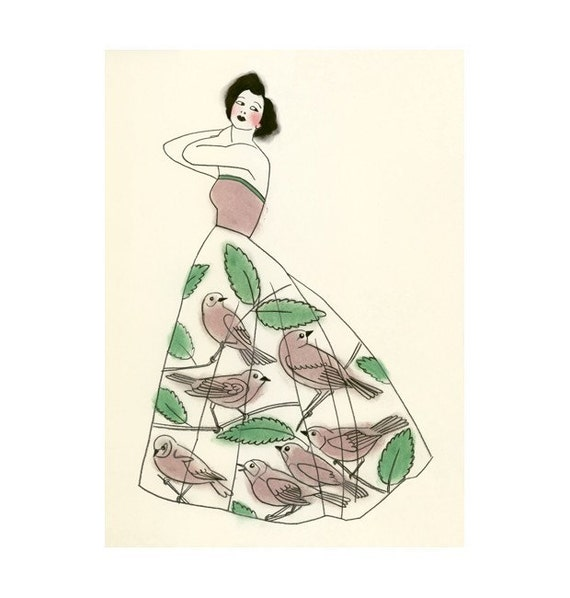 The Bird Cage Dress  -  print of original charcoal and pastel drawing