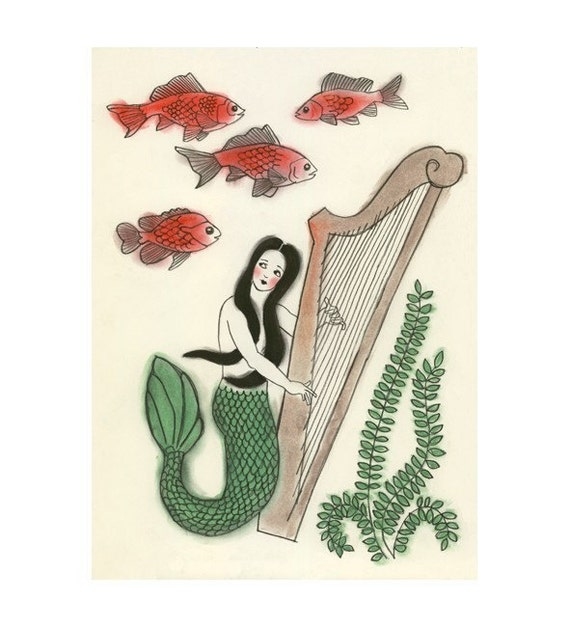 "Mermaid Art print - Goldfish Gardens - 8.3"" X 11.8"" = A4 print"