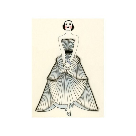 "Fashion illustration art print -  Yvonne  -  8.3"" X 11.7""  print - 4 for 3 SALE"