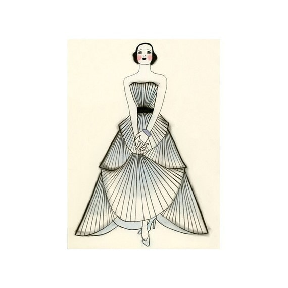 Fashion print - Yvonne  -  5.8 X 8.3 print- 4 for 3 SALE