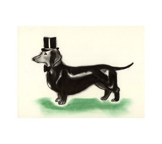 "Dog Art - Dachshund Dog - Sausage Dog Art Drawing Print - Top Hat and Tail 4"" X 6"" - 4 for 3 SALE"