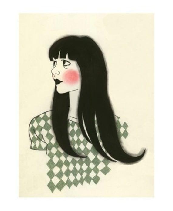 "Fashion drawing - Dorothy - 5.8"" X 8.3"" print"