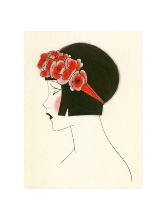 "1920s Art Deco art print -  Poppy IV - 4"" X 6"" - 4 for 3 SALE"