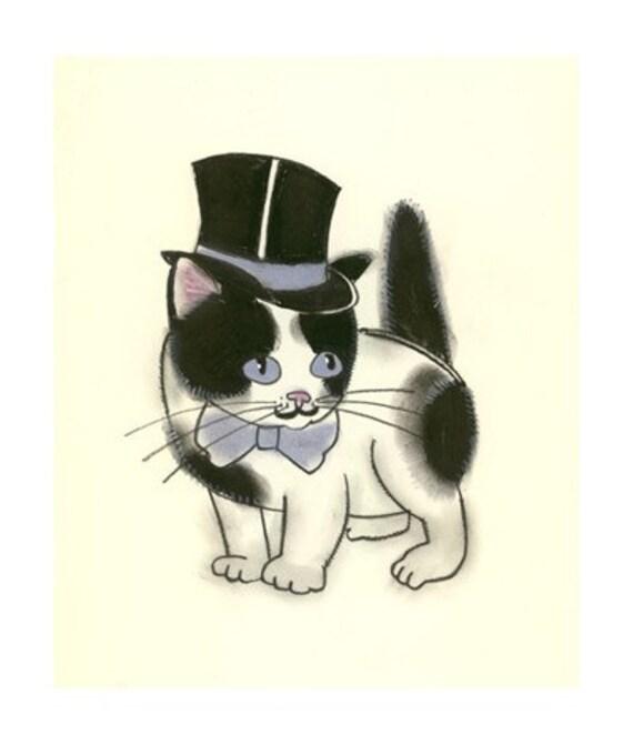 Nursery art print  Aristo-kitten - 4 X 6 cat print - 4 for 3 SALE