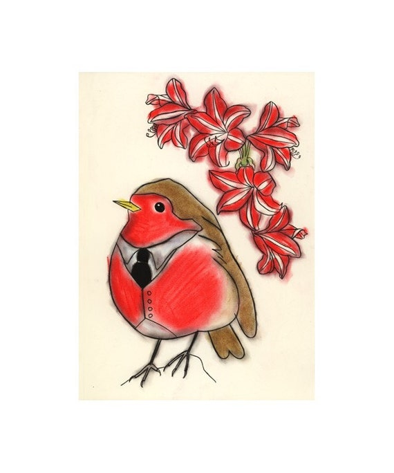 Robin red breast Bird art - 4 for 3 SALE  The look this fall -   4 X 6 print