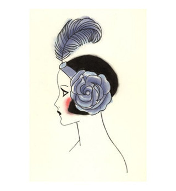 Art Deco illustration (print). Art Deco Poppy at the Ball 2 - 4 for 3 SALE