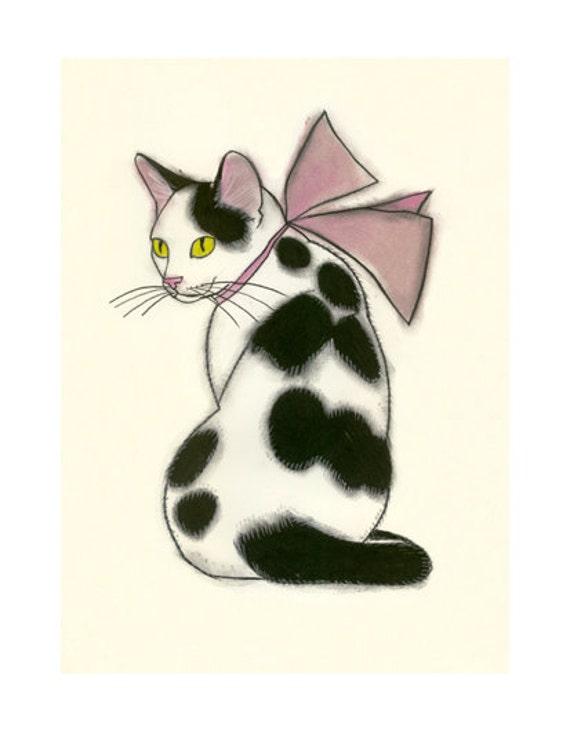 Pink Kitten Drawing Cat Print Cat Drawing