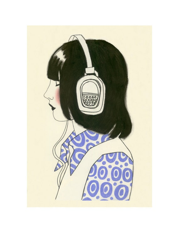 "Fashion Illustration art print - New York Listener II - 4"" X 6"" print - 4 for 3 SALE"