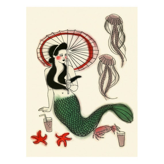Children's wall art. Mermaid print  -  Mid-morning tea break  -  print - 4 for 3 SALE