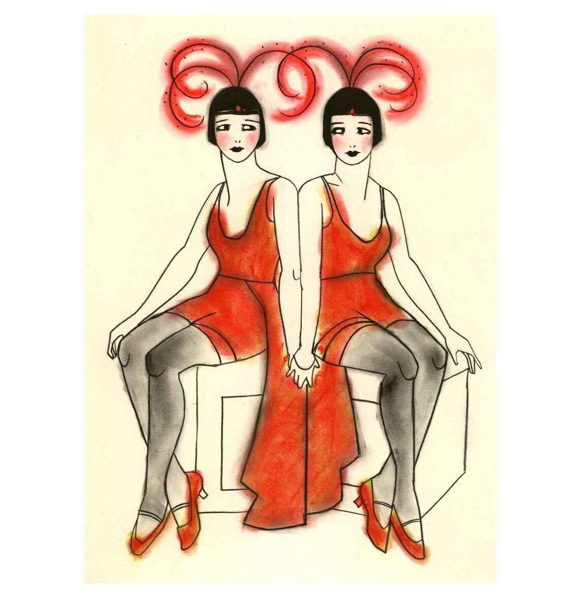 Art nouveau fashion illustration the for Art deco illustration