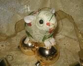 Guinea Pig Ornament - Gold Holly 2