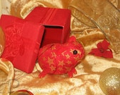 Guinea Pig Ornament - Red with Gold Stars