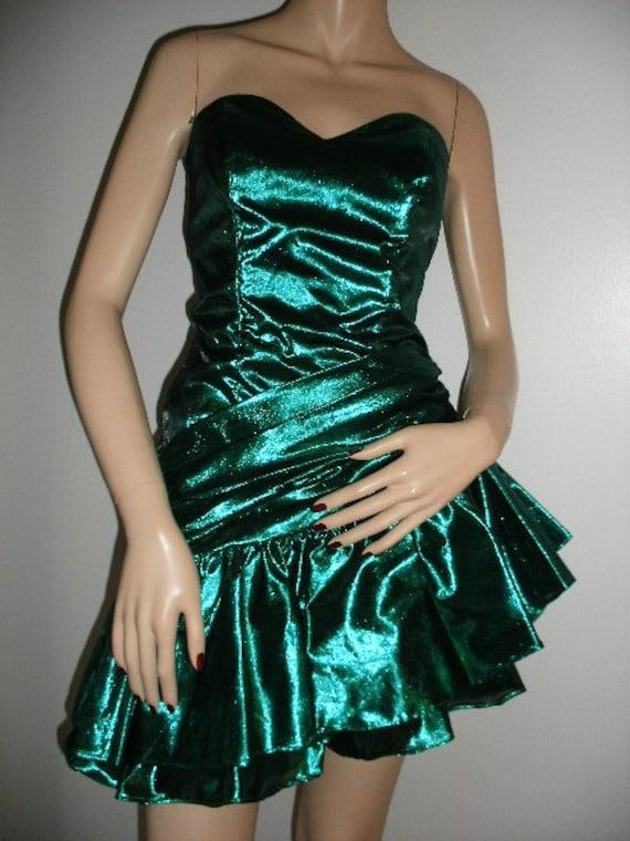 Emerald Isle 80s Glam Strapless Mini Dress Metallic Green
