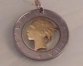 Italian 500 Lire cut coin necklace jewelry made from a real Italian coin