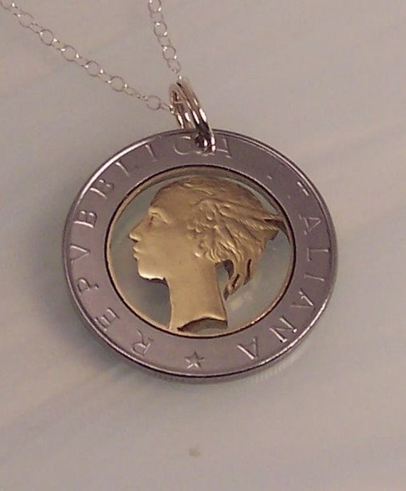 italian 500 lire cut coin necklace jewelry made from a real