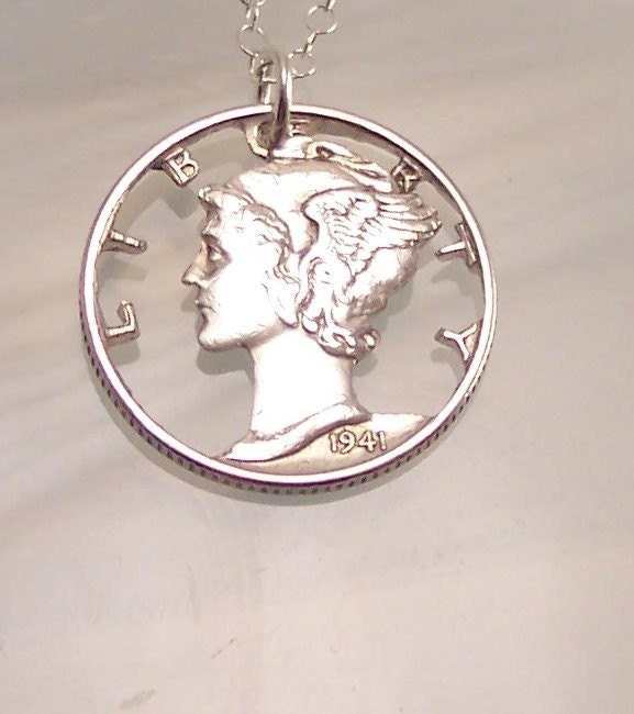 mercury dime cut coin necklace jewelry gift for everyone
